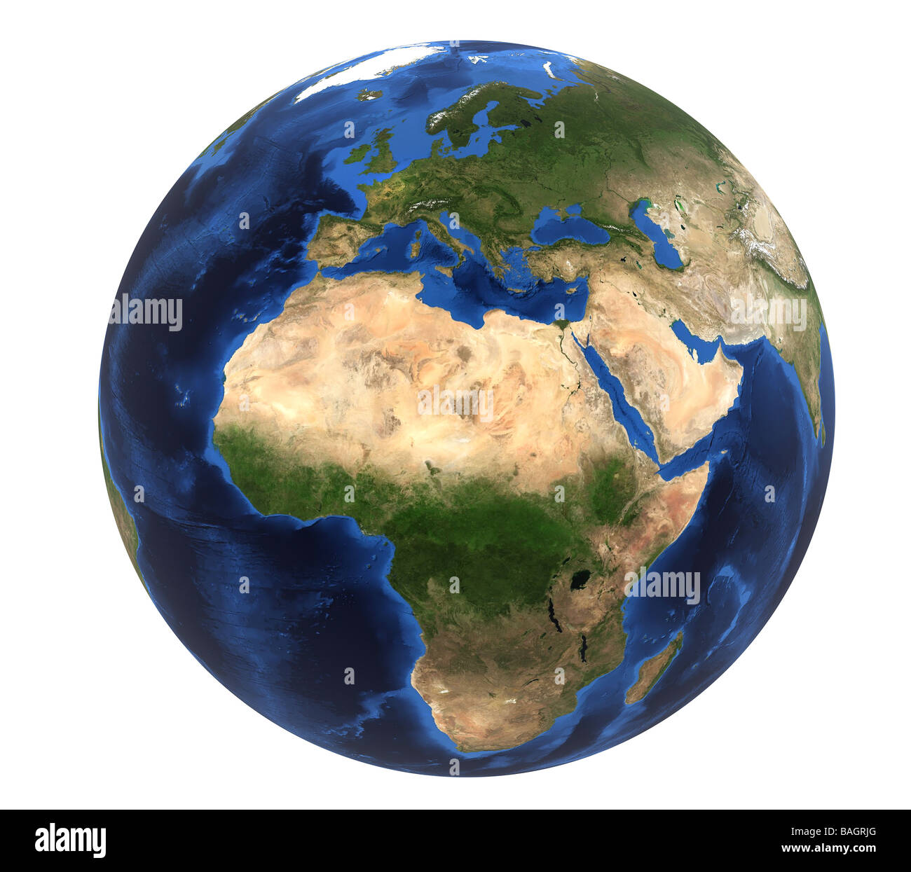 Rendered Earth image (map courtesy of NASA) showing Europe & Africa on a white background (cutout) - Stock Image