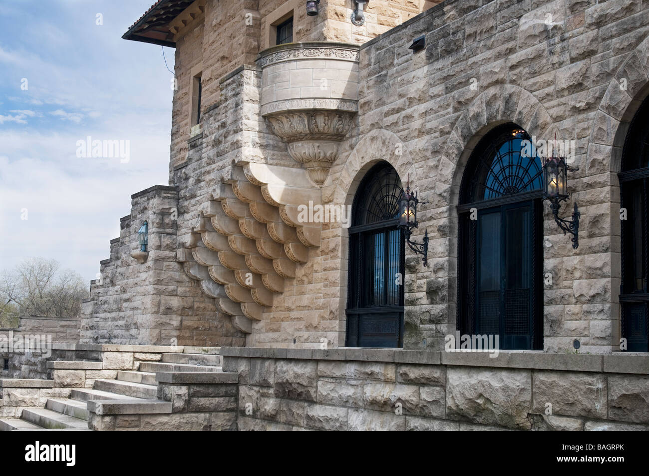 North view of a part of the Marland Mansion in Ponca City, Oklahoma, USA. - Stock Image