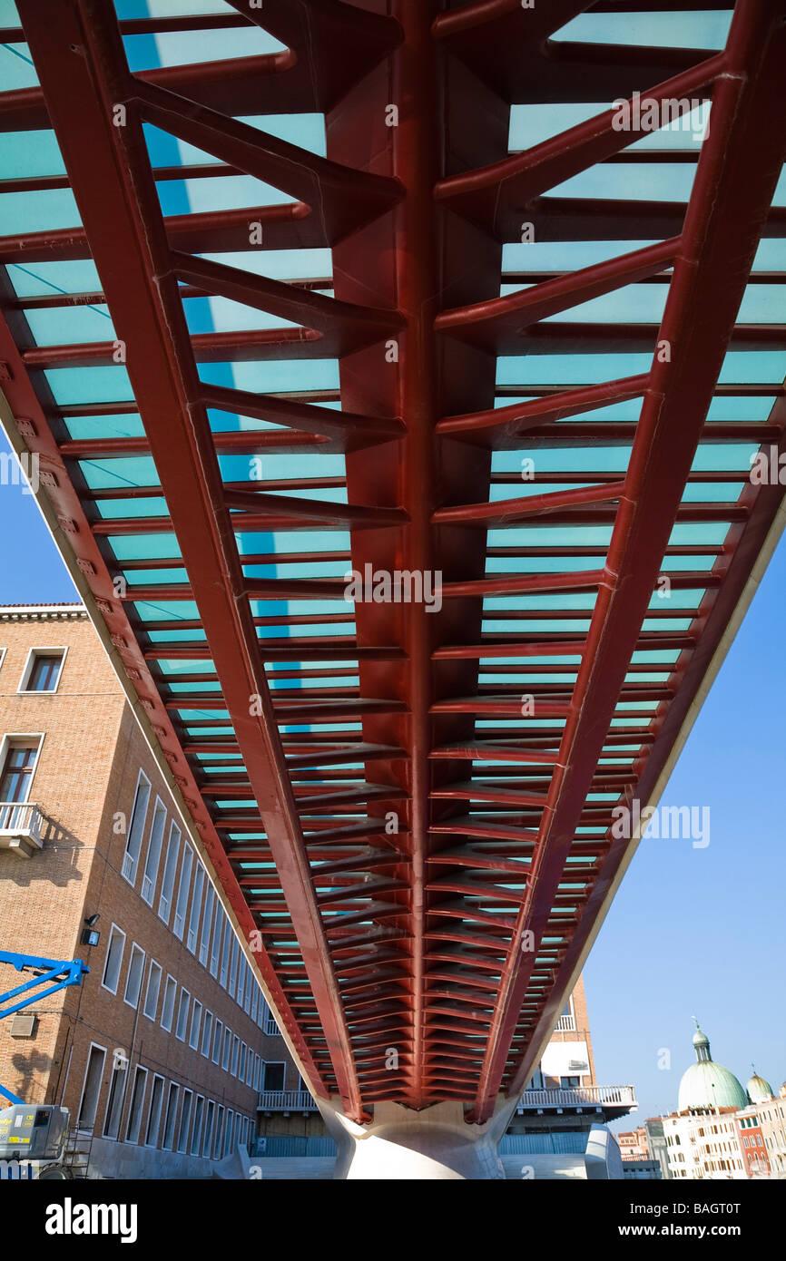 Constitution Bridge, Venice, Italy, Santiago Calatrava, Constitution bridge the underside of the fishbone. Stock Photo