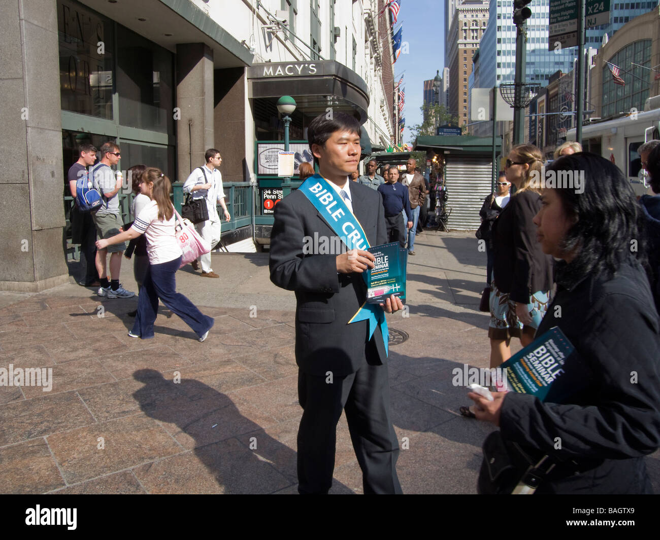 Evangelical Christians in New York promoting their Bible Crusade near Macy s on Sunday April 19 2009 Richard B Levine - Stock Image