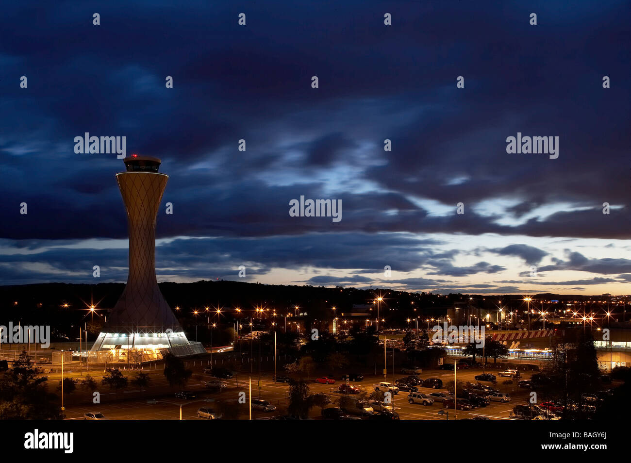 air traffic control tower twilight from car park - Stock Image