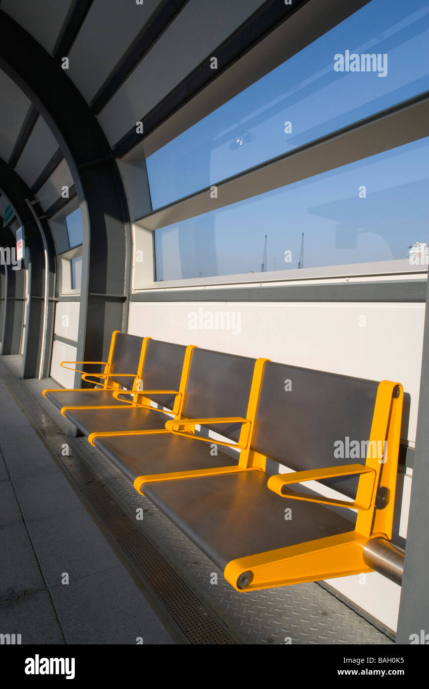 Dlr West Silvertown Station, London, United Kingdom, Weston Williamson Architects, Dlr west silvertown station seating - Stock Image