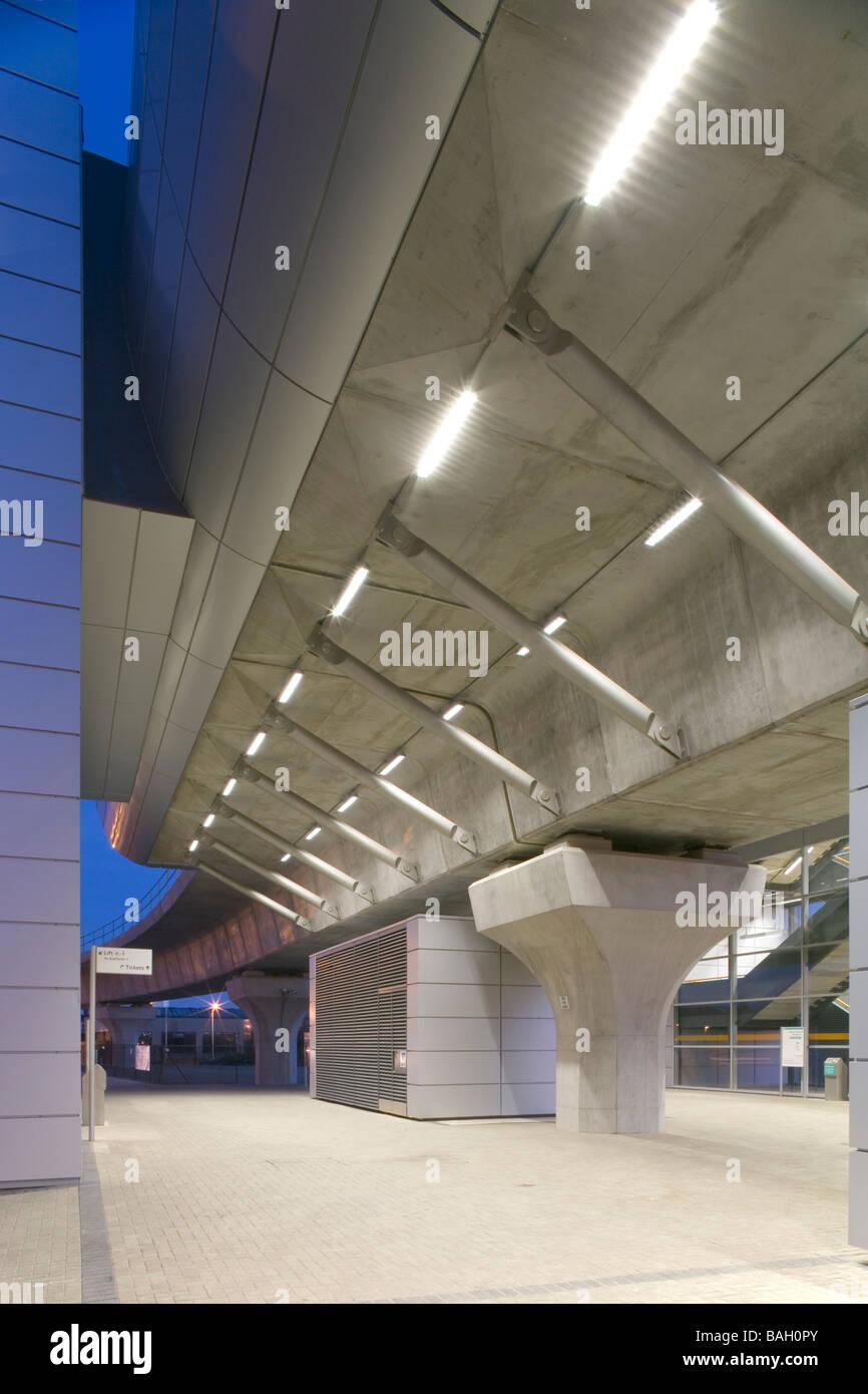 Dlr West Silvertown Station, London, United Kingdom, Weston Williamson Architects, Dlr west silvertown station evening - Stock Image