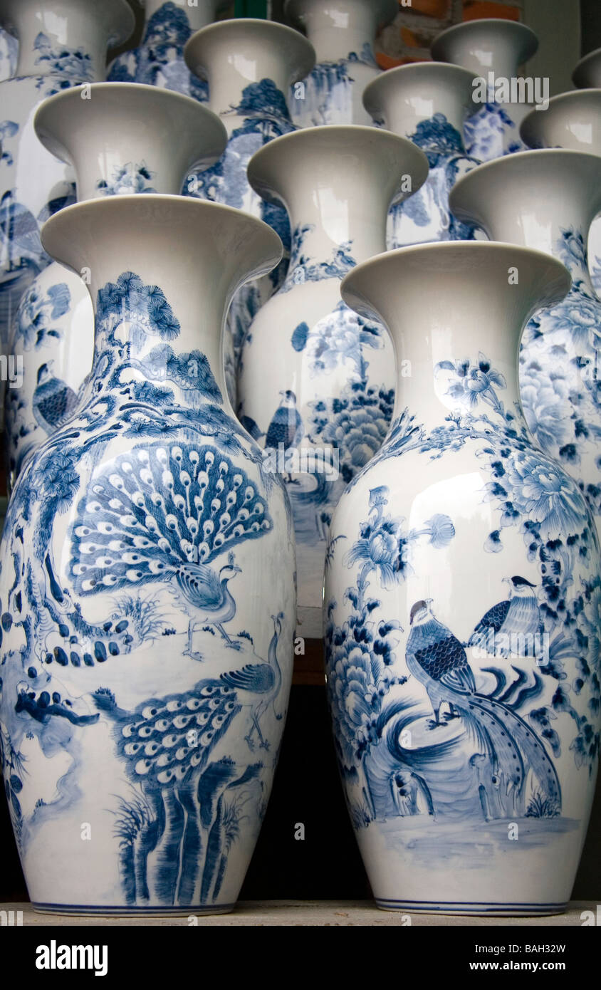 Painted ceramic vases at the Thai Son pottery factory near Ha Long Vietnam - Stock Image