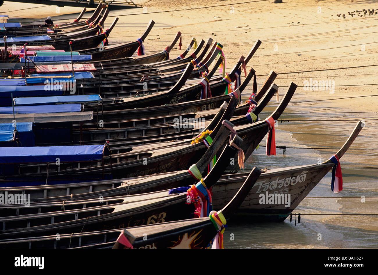 Thailand, Krabi Province, around Phuket, Long Tails boat - Stock Image