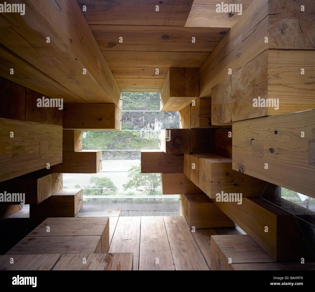 Final Wooden House, Kumamoto, Japan, Sou Fujimoto Architects, Final wooden house interior views. - Stock Image