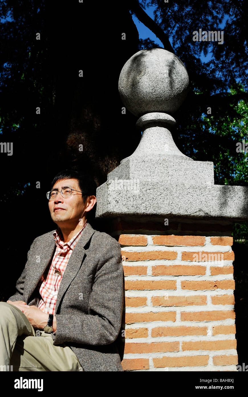 Bei Dao Chinese poet pseudonym of Zhao Zhenkai in Residencia de Estudiantes Madrid Spain April 2009 - Stock Image