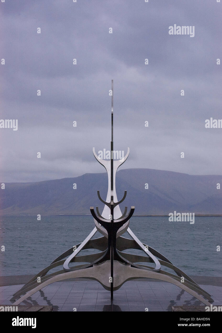 Sun Voyager scultpure near the shore in Reykjavik, Iceland Stock Photo