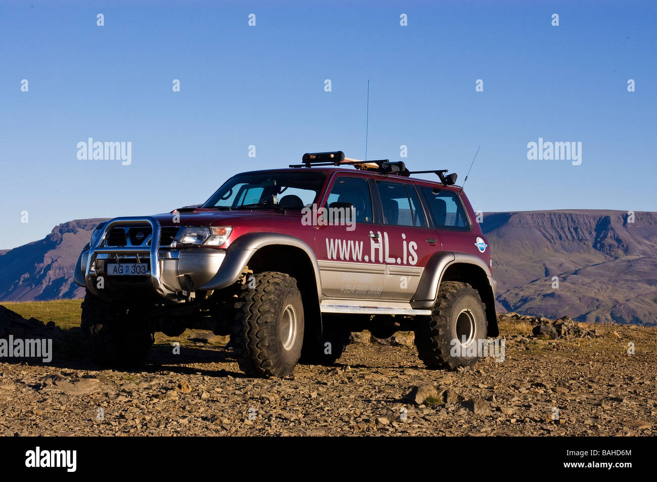 Super Jeep on hilltop in Iceland Stock Photo