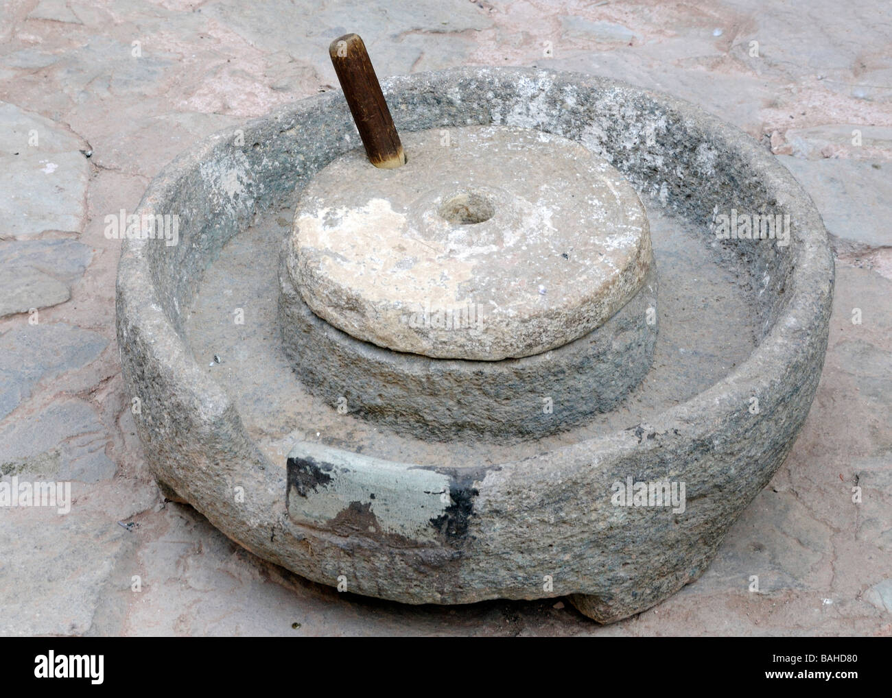 An Ancient Sandstone Quern Stone The Lower Stone And