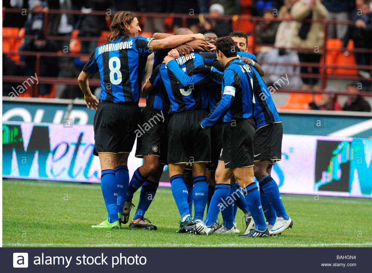 inter players celebrating'milano 14 12 2008 'serie a football championship 2008/2009 'inter-chievo 4-2 'photo paolo - Stock Image