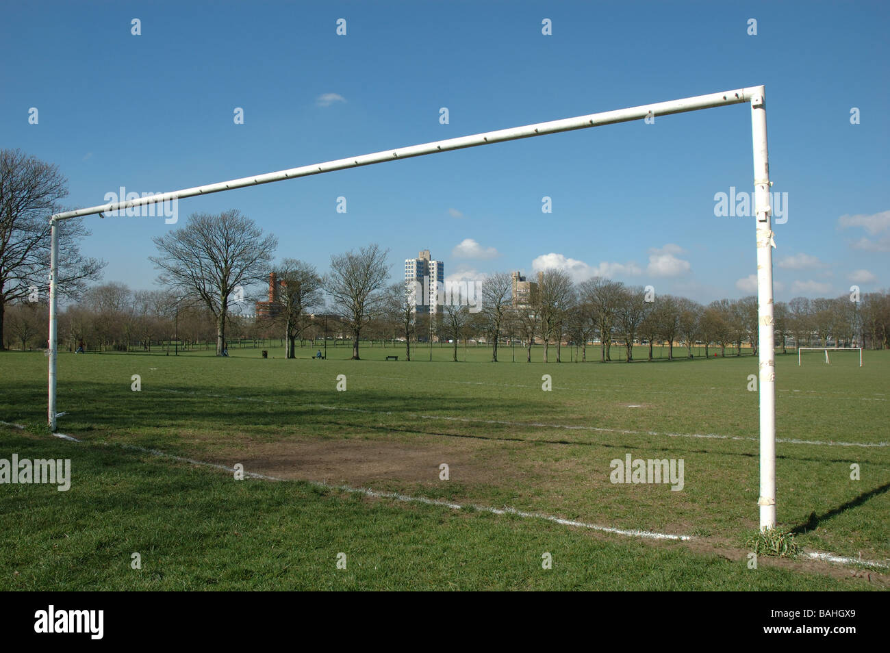 football pitch, Victoria Park, Leicester, England, UK - Stock Image