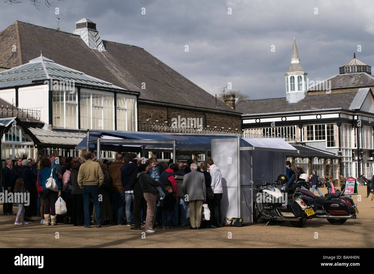 The Hairy Bikers celebrity food chefs being filmed in Buxton gardens  Derbyshire England - Stock Image