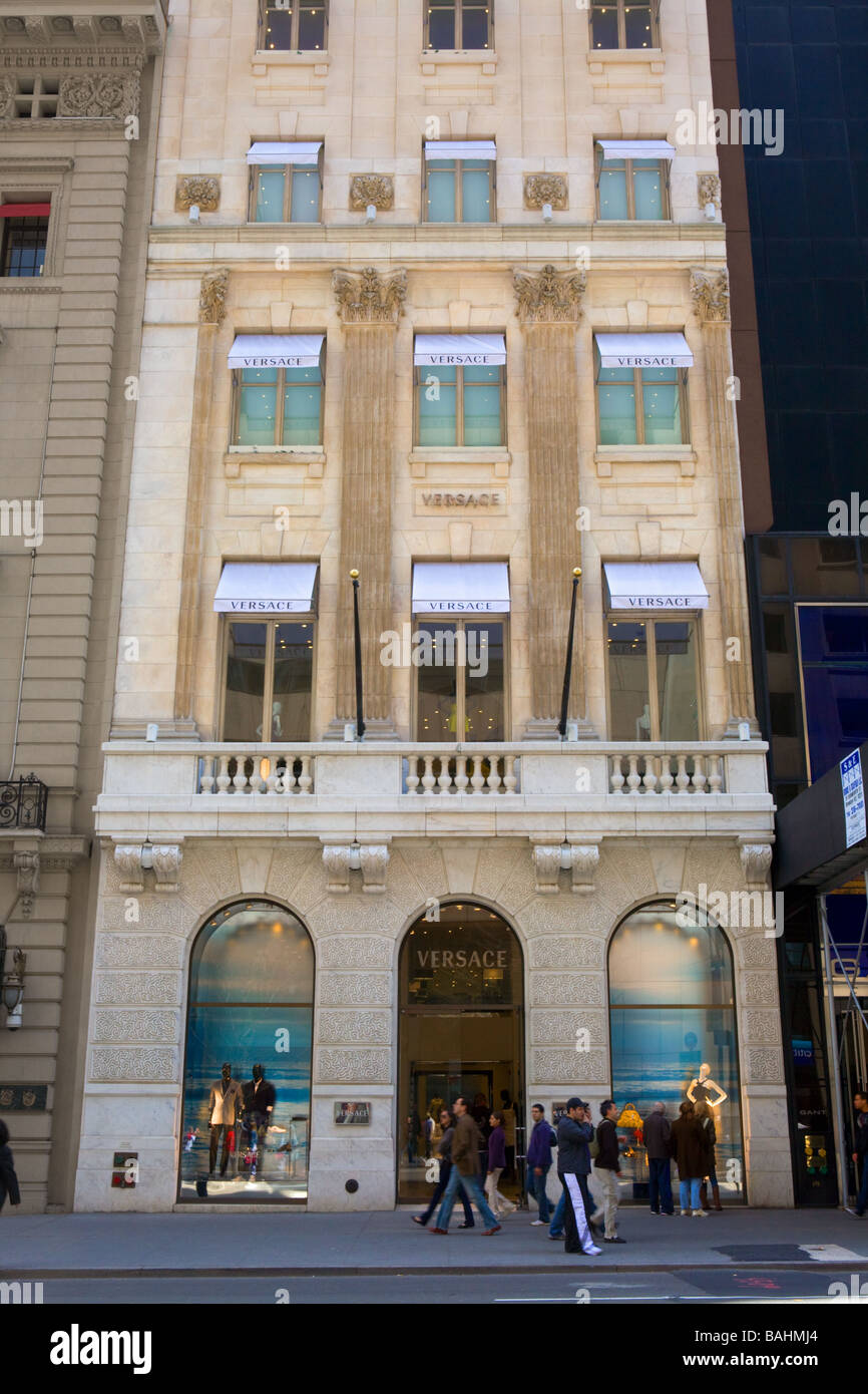 Versace flagship store Fifth Avenue New York City - Stock Image