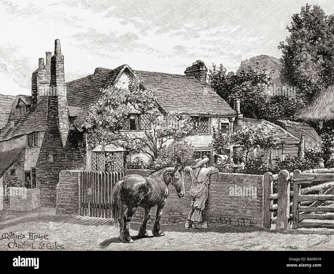 John Milton s house Chalfont St Giles England.  From the book The English Illustrated Magazine 1891 1892 - Stock Image