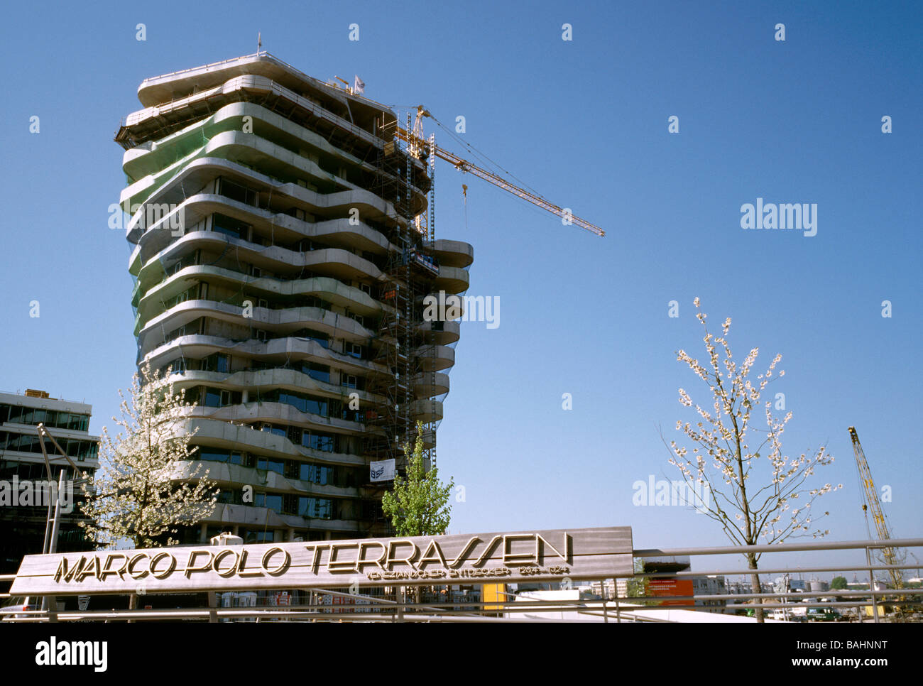 April 21, 2009 - Luxury apartments are being created with the Marco Polo Tower at Strandkai in Hamburg's Hafencity. - Stock Image
