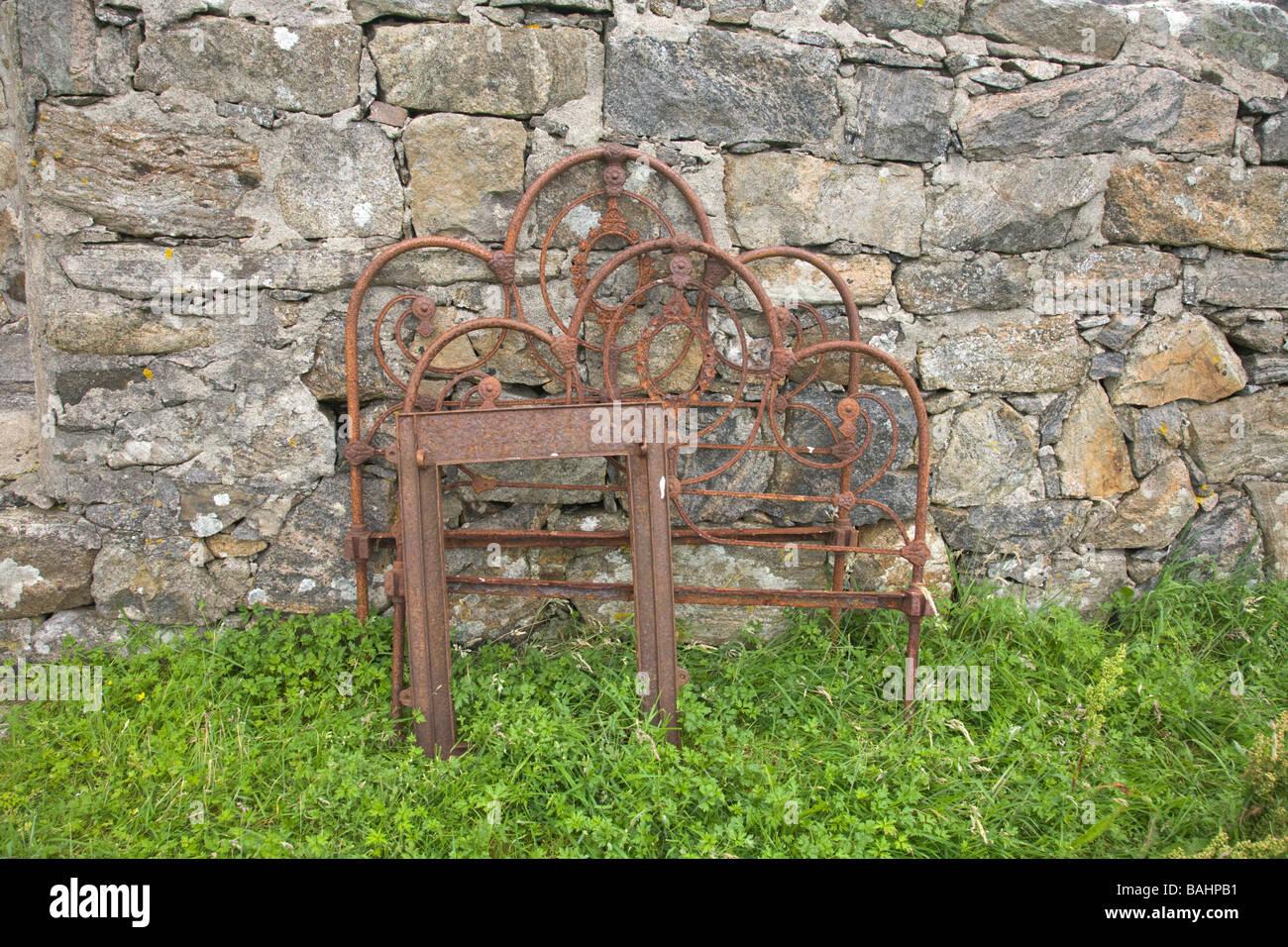 Deserted island of Mingulay Outer Hebrides United Kingdom Scotland GB Ruined buildings - Stock Image