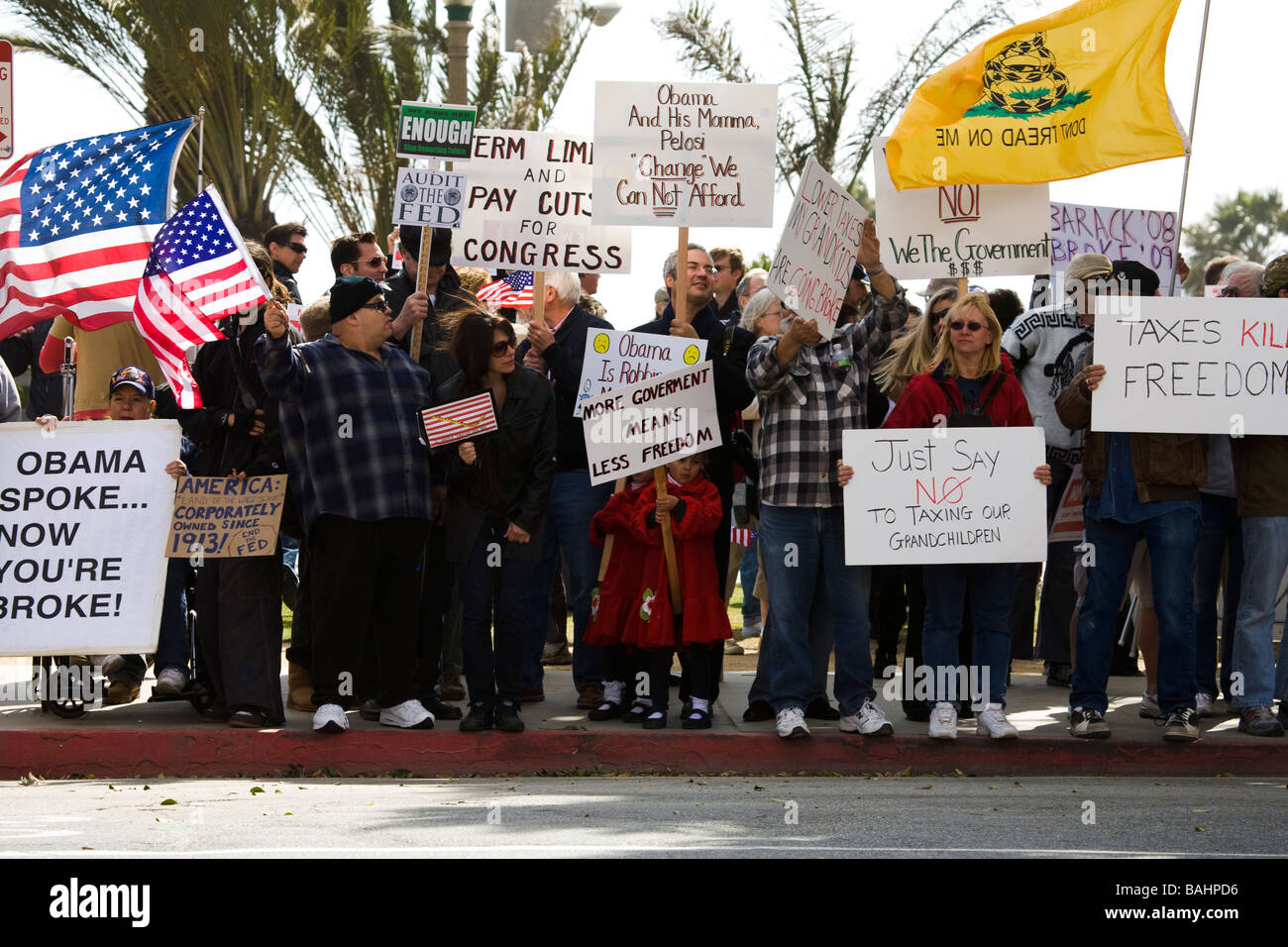 Tax Day Tea Party 4 15 2009 anti tax protest Santa Monica Los Angeles County California United States of America - Stock Image