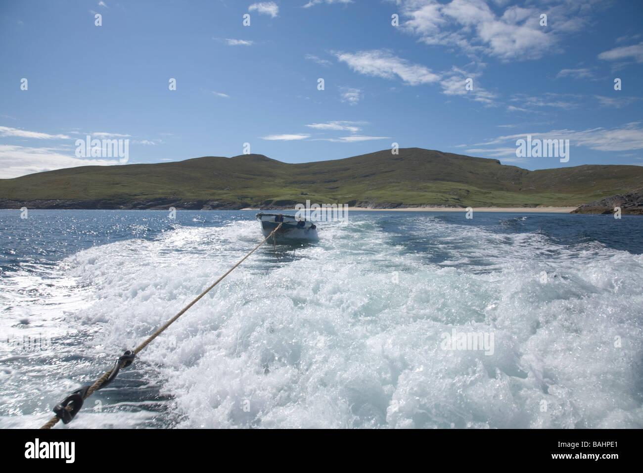 Deserted island of Mingulay Outer Hebrides United Kingdom Scotland GB Ferry to the island - Stock Image