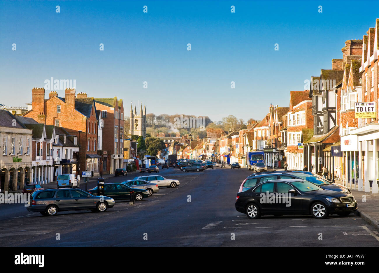 The High Street in the typical English market town of Marlborough Wiltshire England UK This is the widest high street Stock Photo