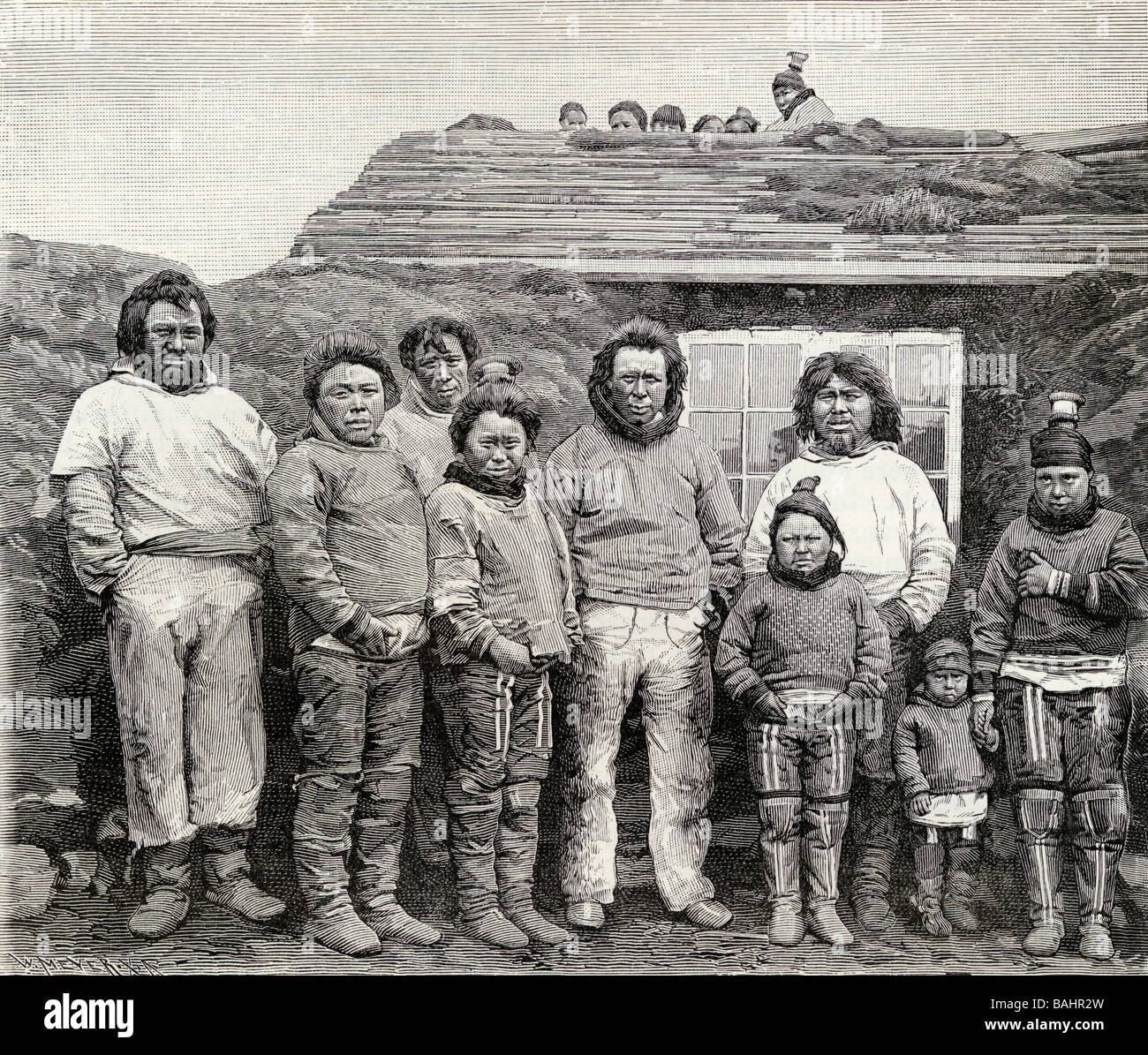 An Eskimo Family Engraved from a 19th century photograph from the book The English Illustrated Magazine 1891 1892 - Stock Image