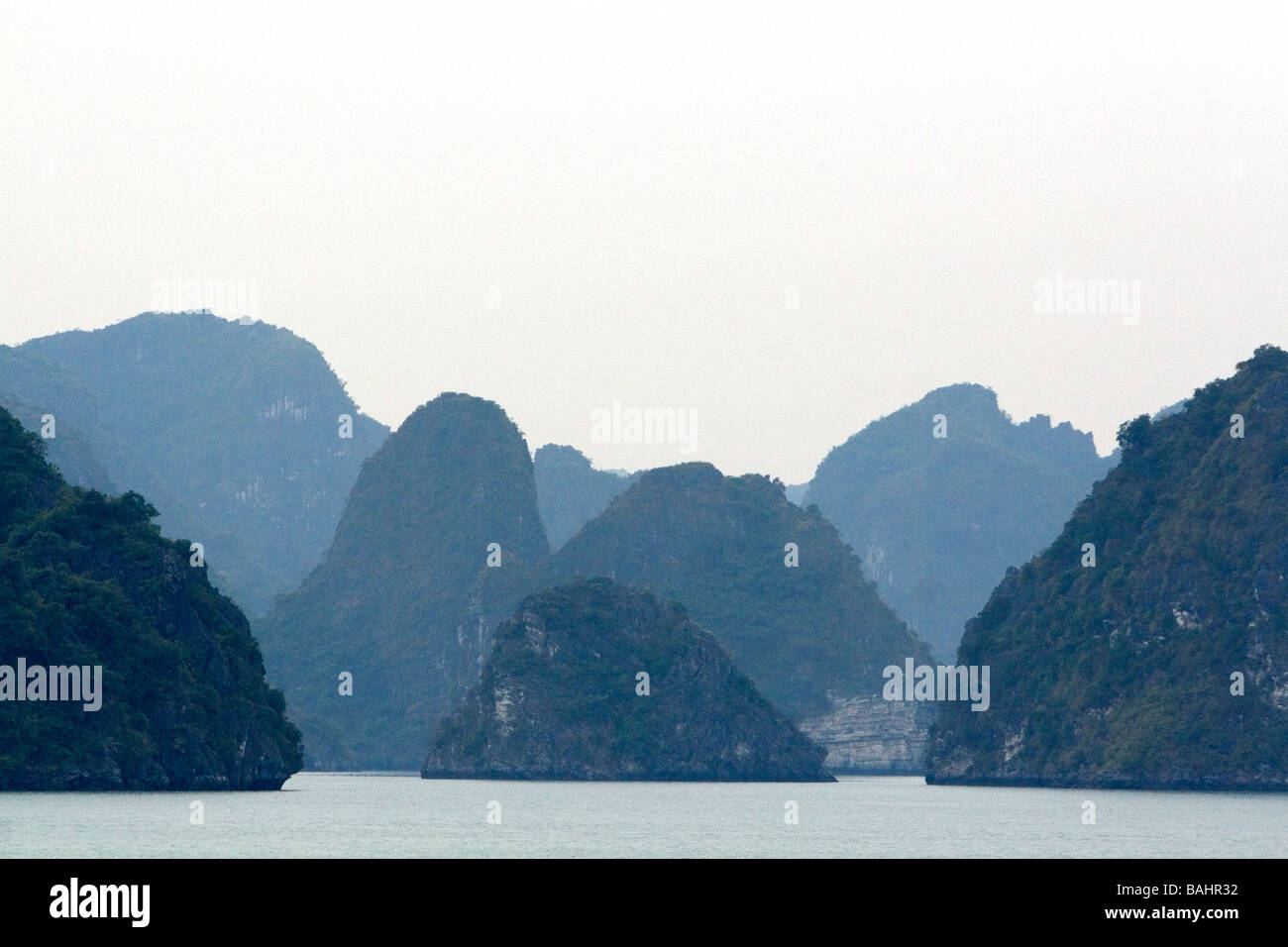 Misty morning views of Ha Long Bay Vietnam - Stock Image