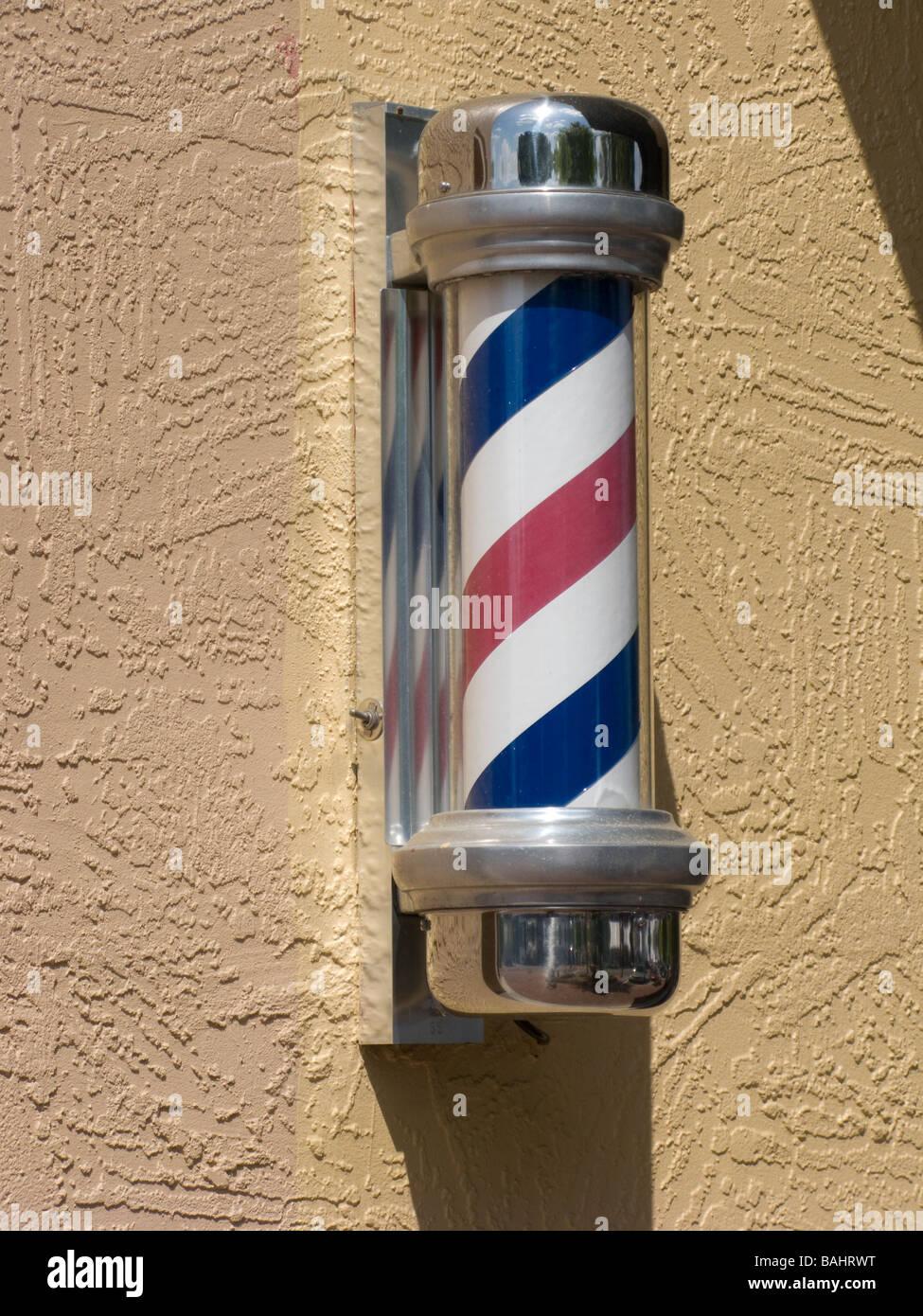 barber shop pole - Stock Image