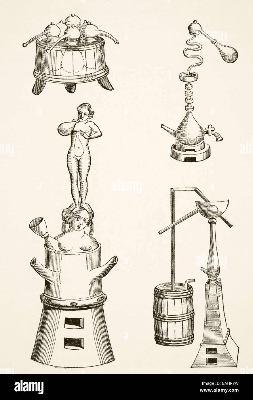 Furnace Retorts Stills And Distilling Apparatus Used By Chemists Distillation Diagram Alchemists In The 16th Century