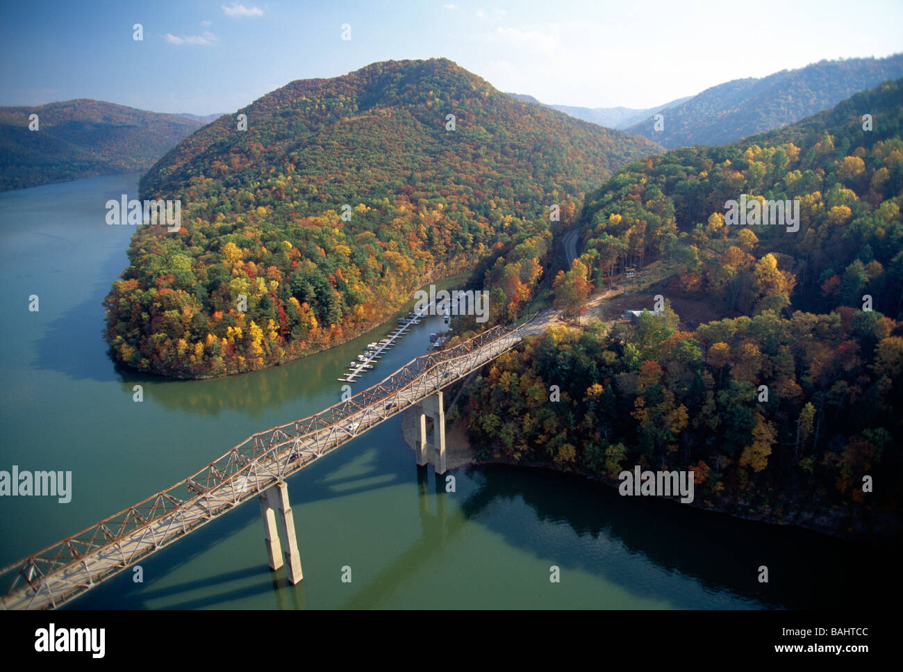 Aerial view of fall foliage and Bluestone River near Pipestem Resort State Park West Virginia USA Stock Photo