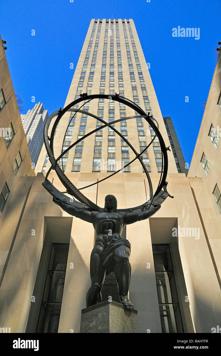 atlas rockefeller center new york - Stock Image