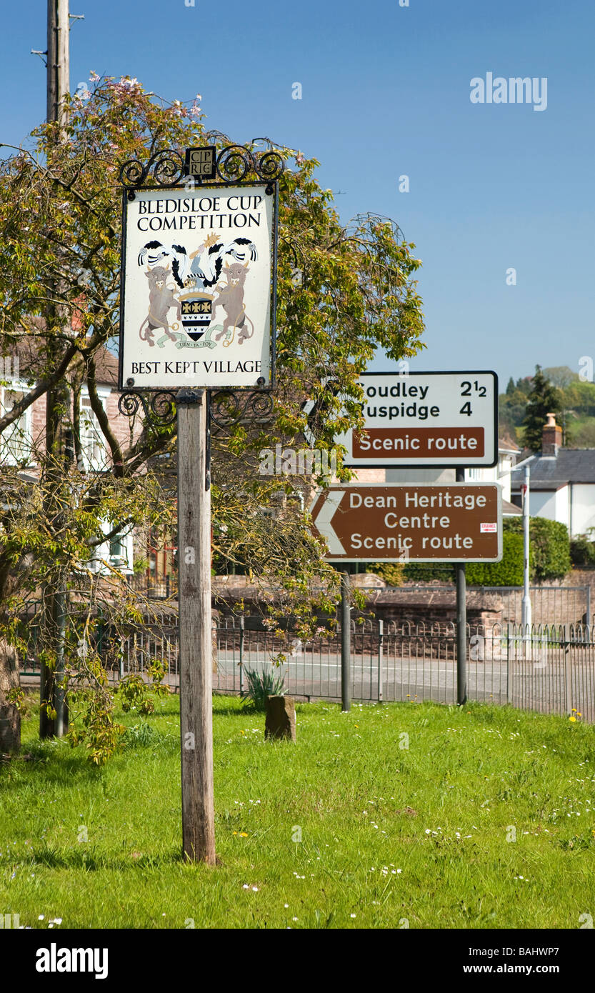 UK Gloucestershire Blakeney Forest of Dean Best Kept Village winner sign - Stock Image