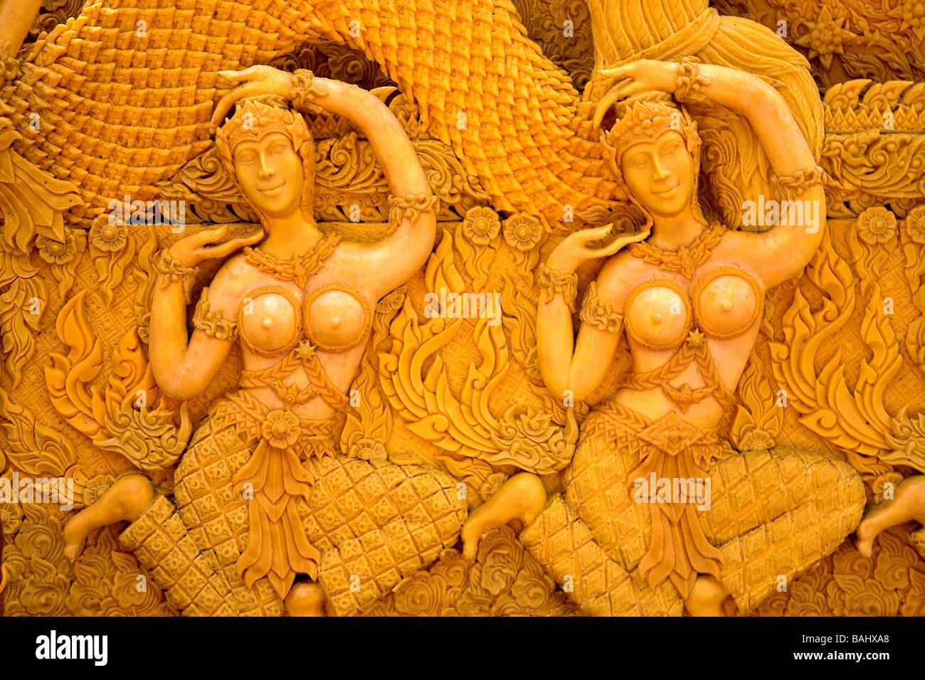 Nakhon Ratchasima, Thailand, Asia; Candle wax carving - Stock Image