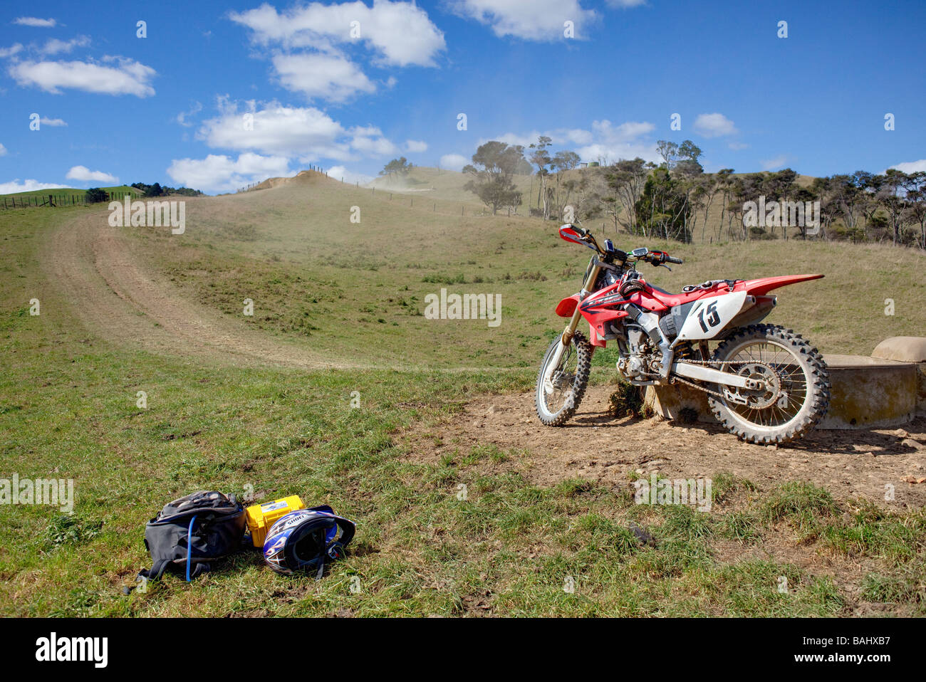 Dirt biking trail ride New Zealand - Stock Image