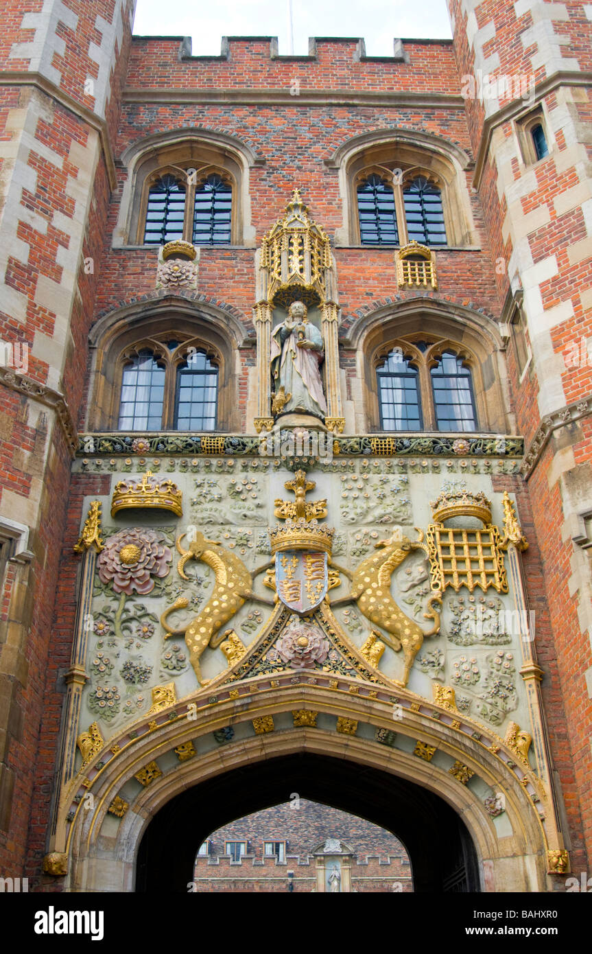 Cambridge England UK St John s College the Gate Tower main entrance Stock Photo
