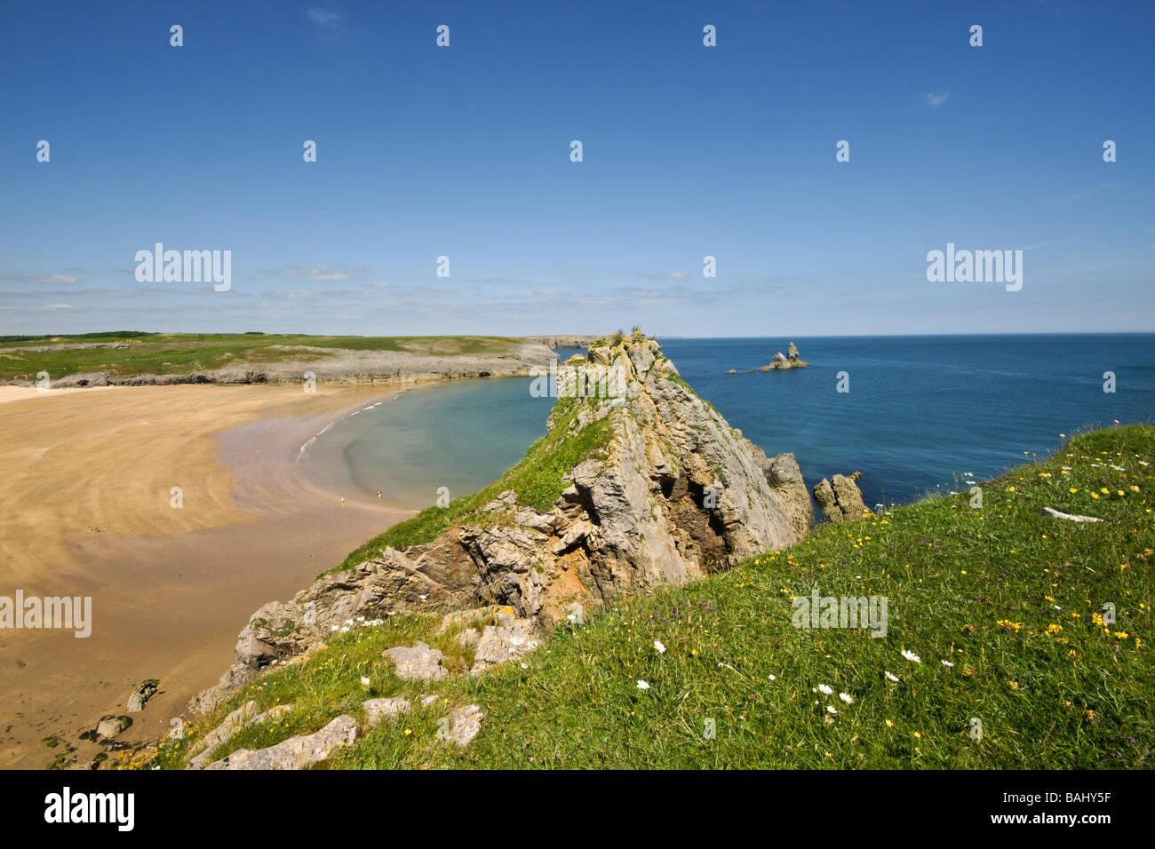 The beach at Broad Haven South, Pembrokeshire, Wales - Stock Image