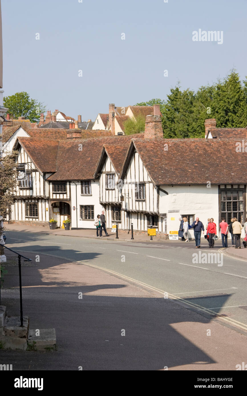 High Street Lavenham Suffolk England and the Swan Hotel - Stock Image