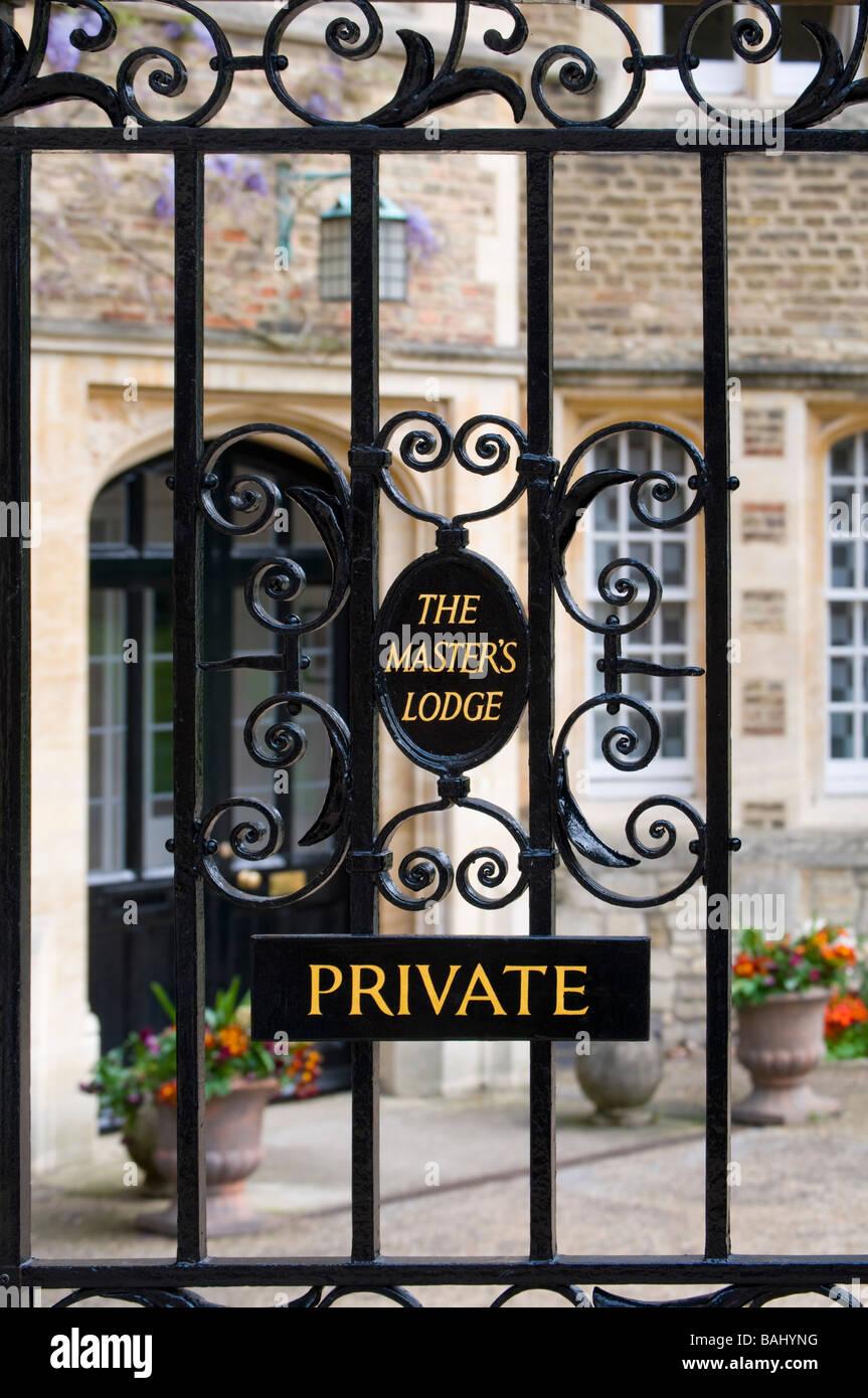 Cambridge, England, UK. Jesus College - gates to the Master's Lodge - Stock Image