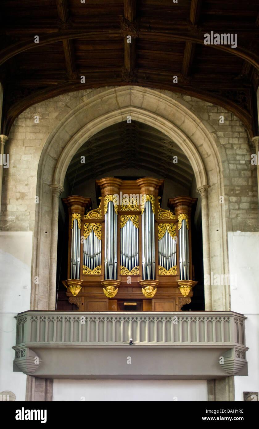 Cambridge, England, UK. St Mary the Great Church. Organ (Bernhard Schmidt ) Stock Photo