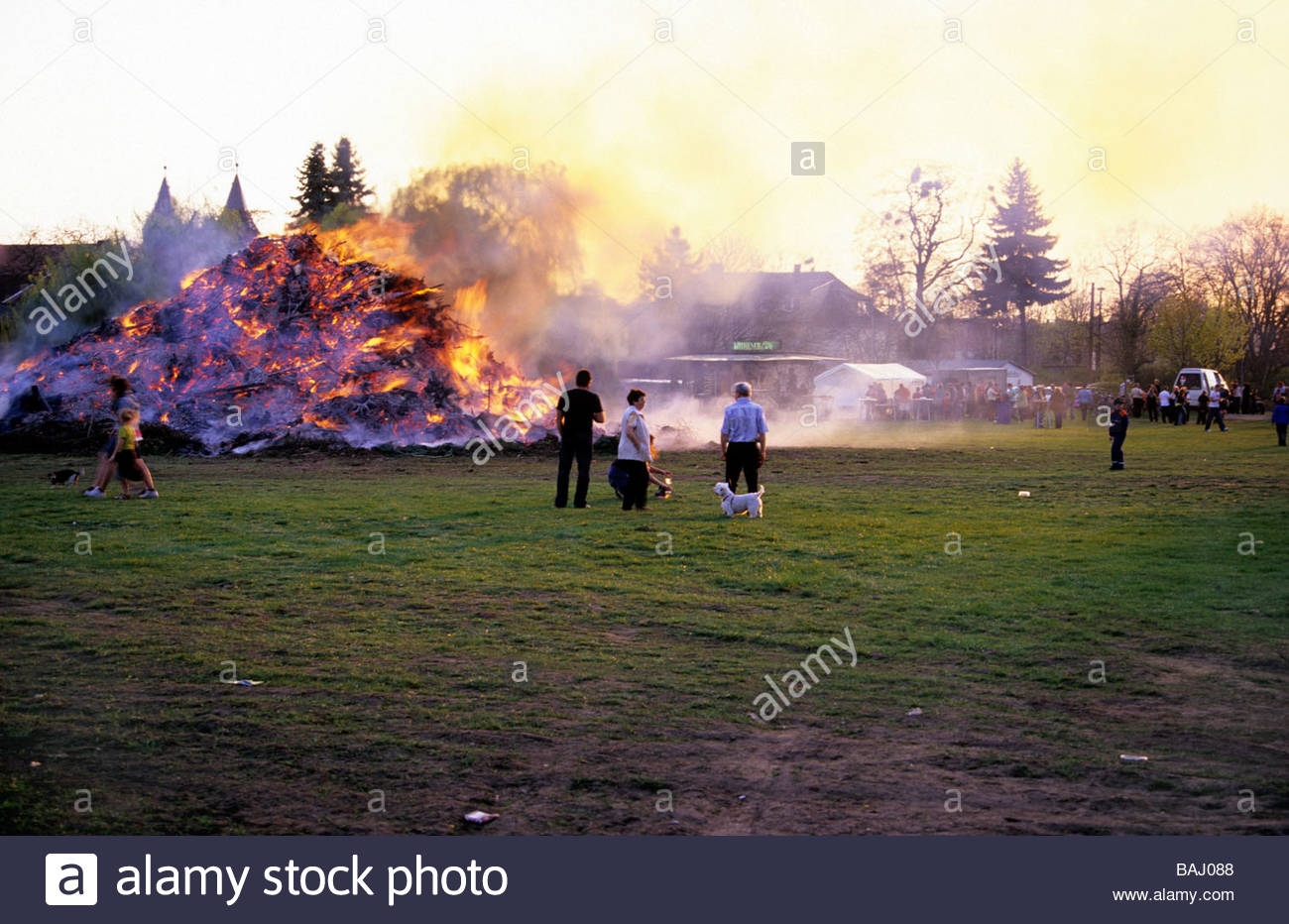 bonfire on Easter Saturday in Aken Germany Osterfeuer in Aken - Stock Image
