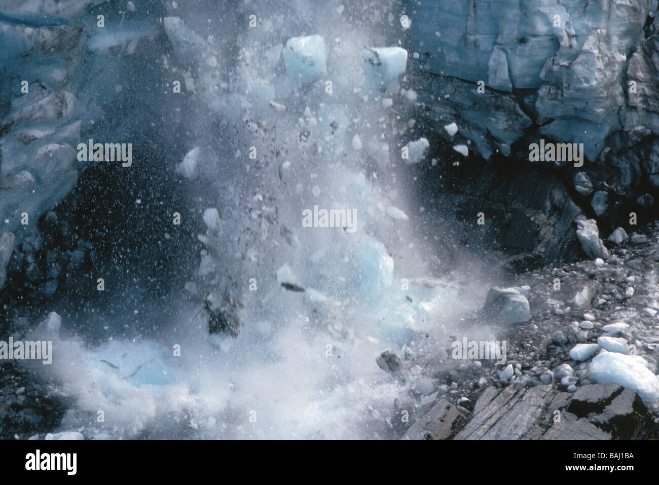 Icefall on Franz Josef Glacier on the South Island of New Zealand - Stock Image