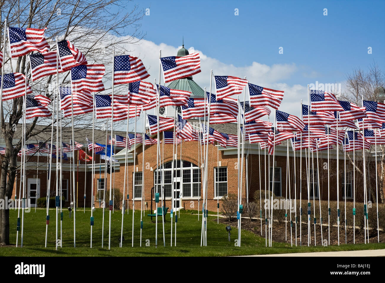 500 flags seen in Estlake Ohio - Stock Image