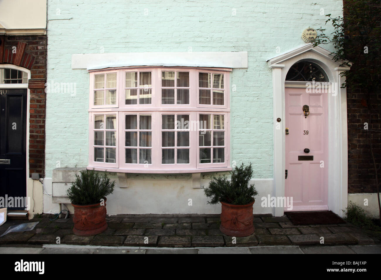 Chelsea cottage Royal Borough of Kensington Chelsea London UK - Stock Image
