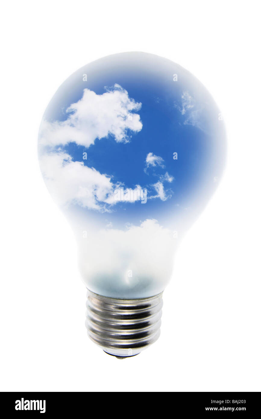 Clouds in Light Bulb - Stock Image