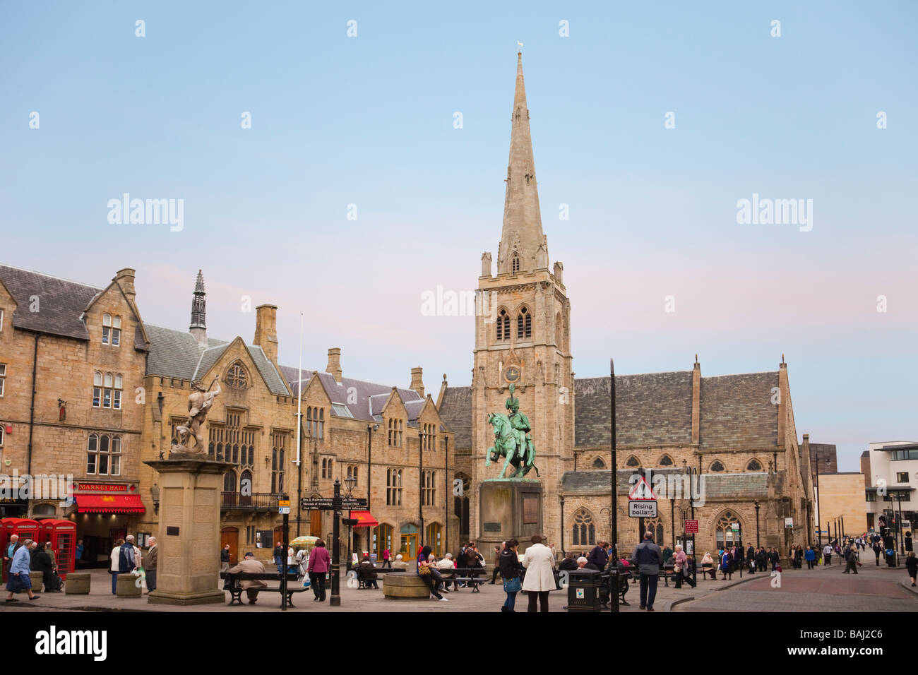 Market Place in city centre with a statue of Neptune and a bronze sculpture of Charles Stewart. Durham County Durham Stock Photo