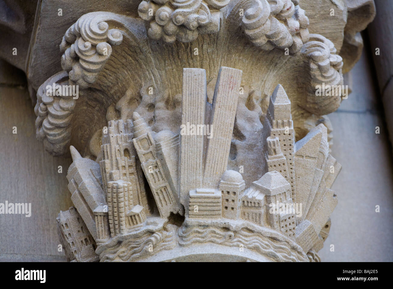 Carving detail doors of St John the Divine depicting World Trade Center before 911 New York City - Stock Image