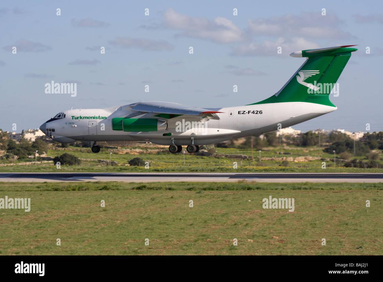Turkmenistan Airlines Ilyushin Il-76TD landing in Malta - Stock Image