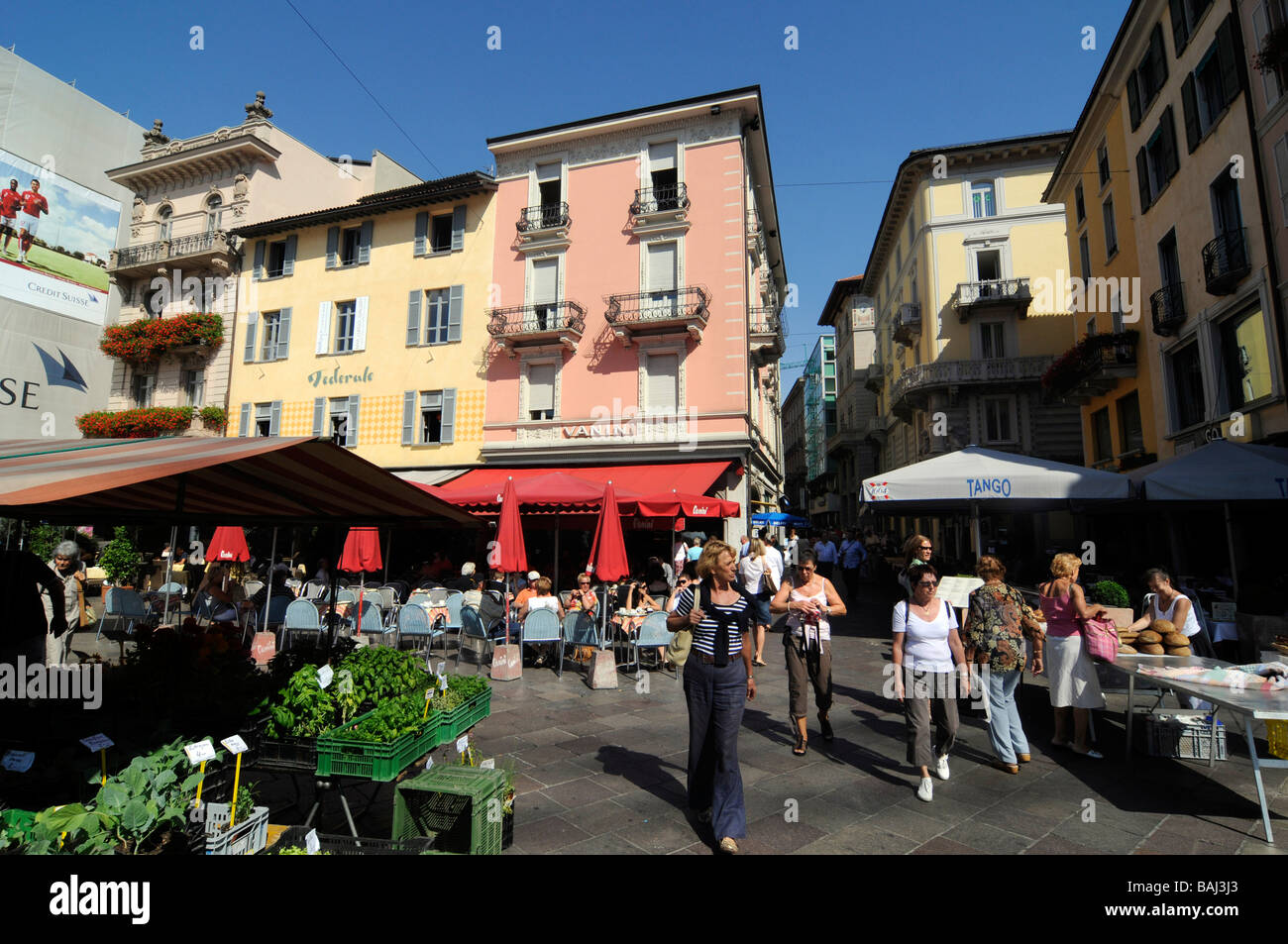 A traditional market in the centre of Lugano, Tessin canton, Switzerland Stock Photo