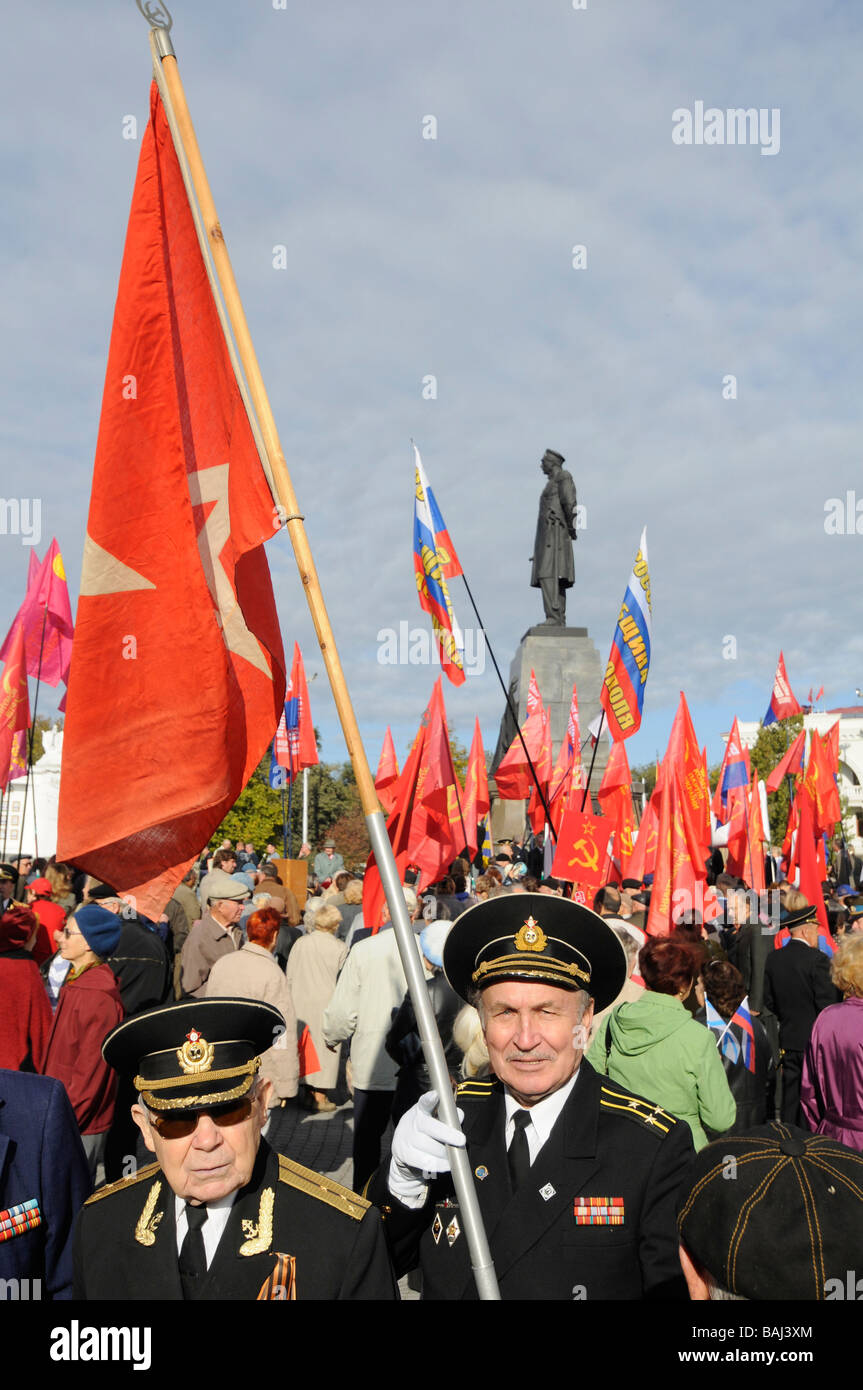 Pro-Communist and pro-Russian demonstration in Sebastopol, Crimean peninsula, Ukraine. - Stock Image