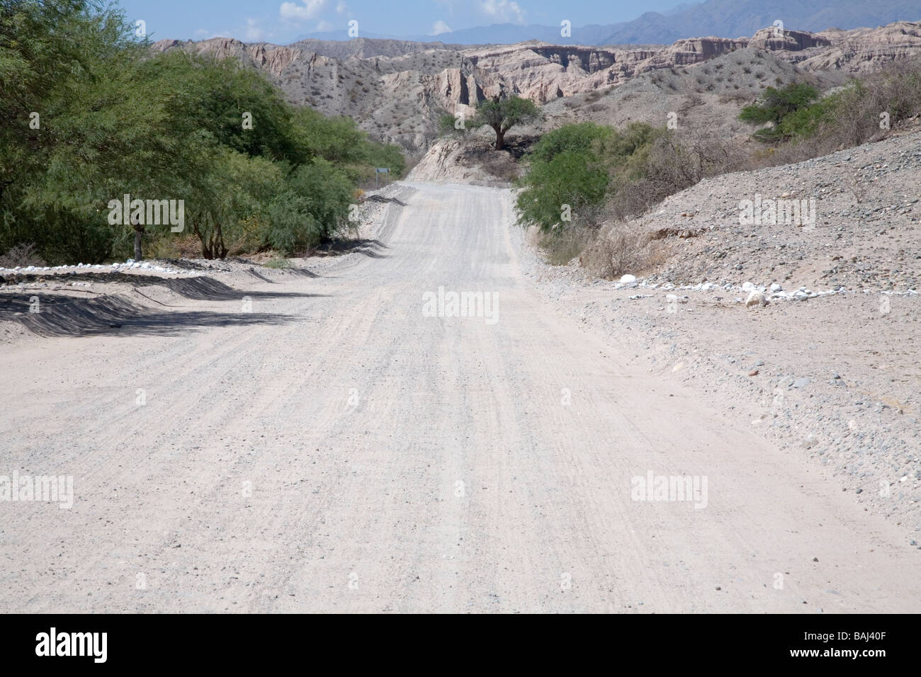 Route 40 stretches into the distance, heading towards Molinos, Salta Province, Argentina - Stock Image