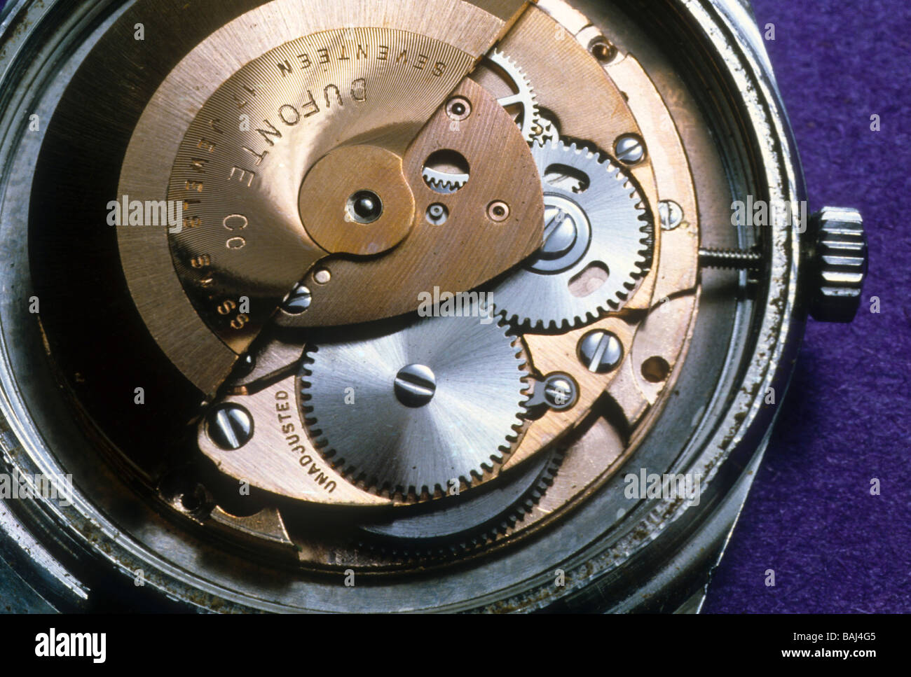 clock watch time timepiece precision Swiss movement gear escapement - Stock Image